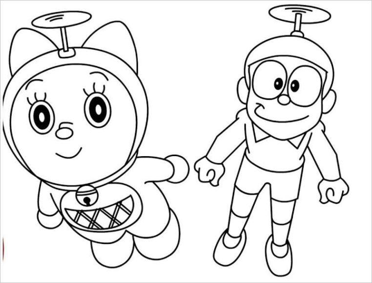 Tranh tô màu Nobita và Doremi