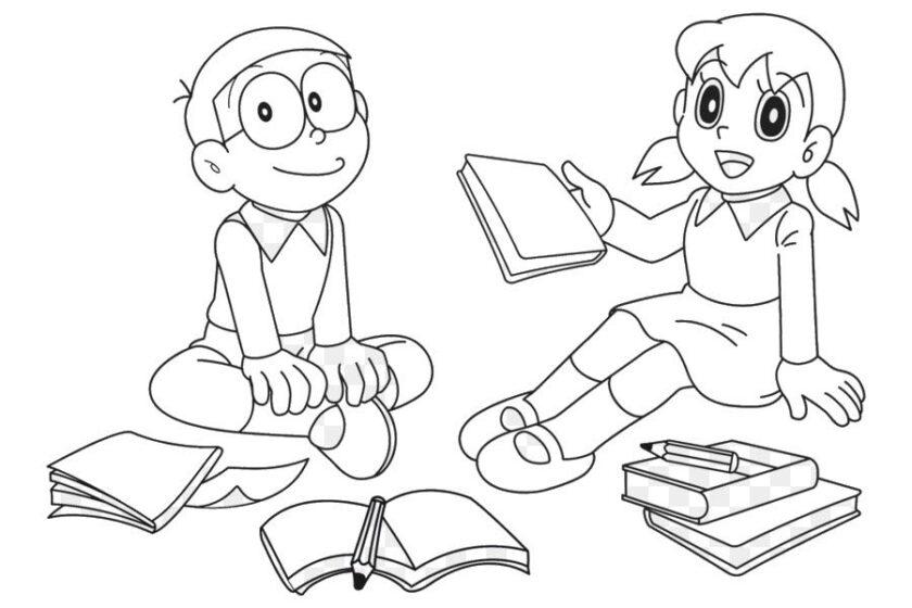 Tranh tô màu Nobita và Shizuka đang học bài