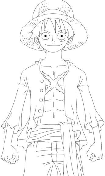 Tranh tô màu One Piece với thuyền trưởng Luffy