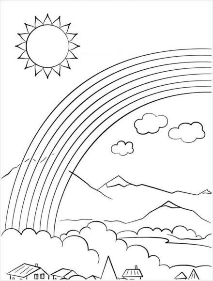 tranh tô màu ông mặt trời đám mây cầu vồng