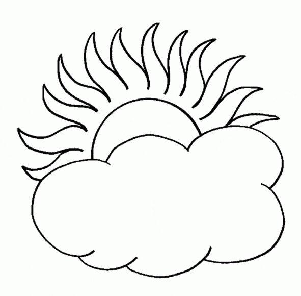 Tranh tô màu ông mặt trời và đám mây