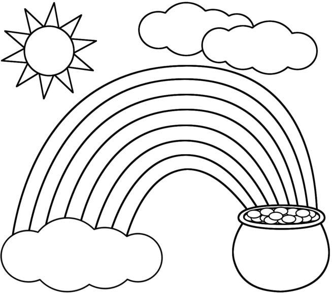 Tranh tô màu ông mặt trời và đám mây đang chiếu sáng trên cầu vồng