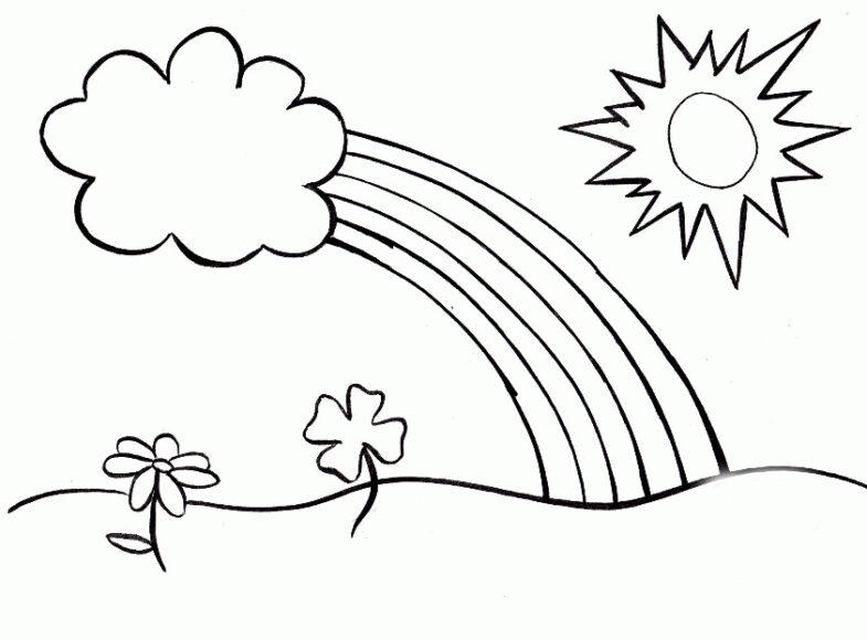 Tranh tô màu ông mặt trời và đám mây đang cùng nhau tạo cầu vồng