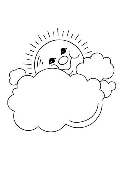 Tranh tô màu ông mặt trời và đám mây đang hạnh phúc