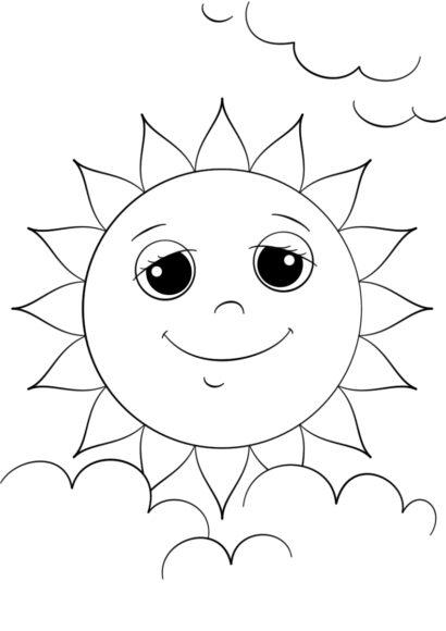 Tranh tô màu ông mặt trời và đám mây đang nở nụ cười hiền diệu