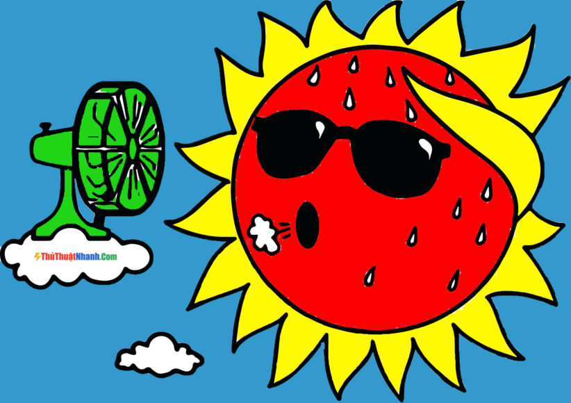 Tranh tô màu ông mặt trời và đám mây đang nóng nực