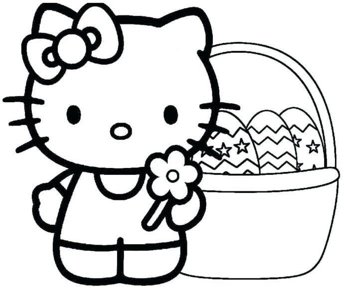 Tranh vẽ chưa tô màu Hello Kitty