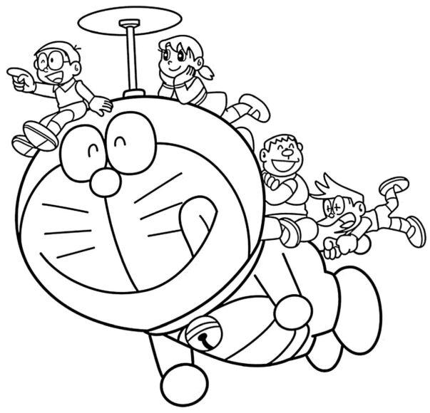Tranh vẽ đen trắng Nobita