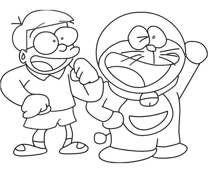 Tranh vẽ Nobita và Doremon hình vẽ đơn giản