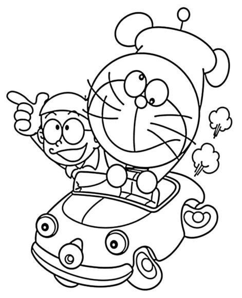 Tranh vẽ Nobita và Doremon, ô tô