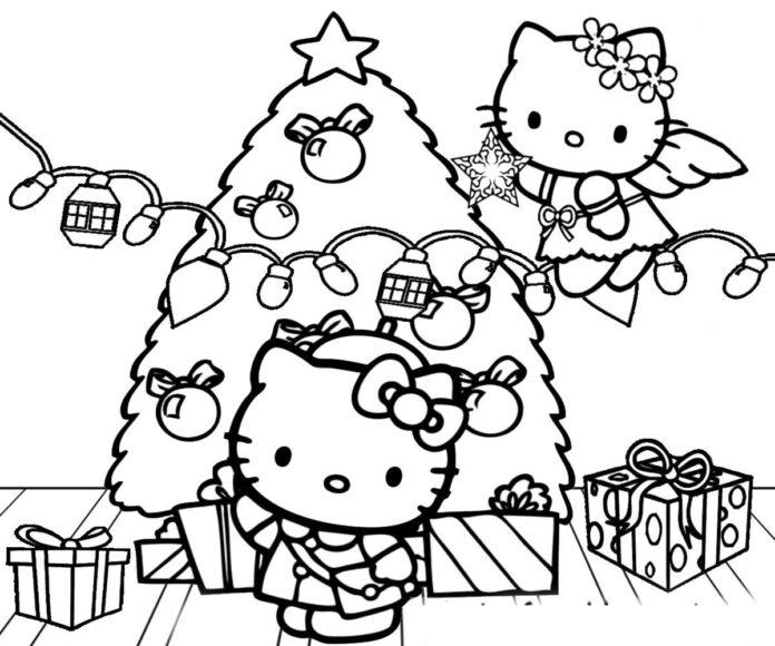Tranh vẽ tập tô Hello Kitty