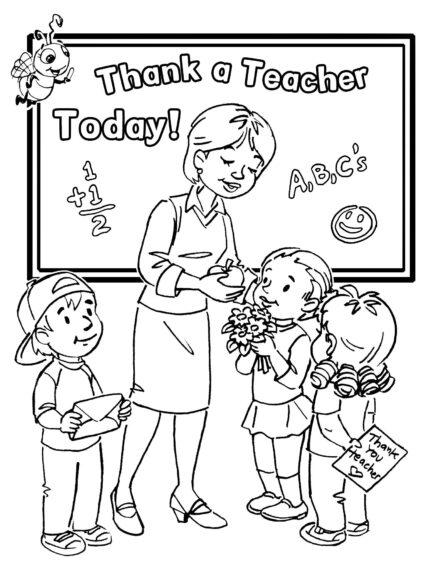 Ảnh tập tô cô giáo và học sinh