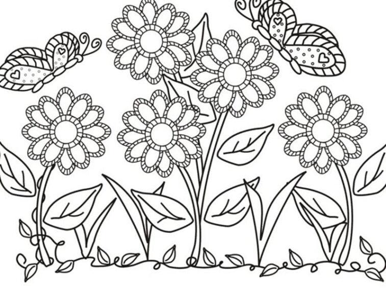 Ảnh vẽ tập tô vườn hoa