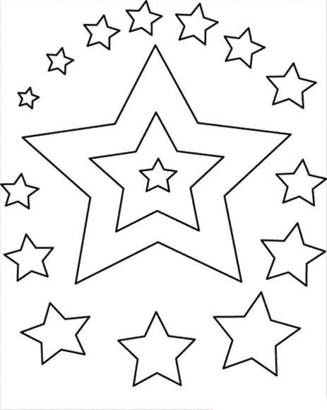 Hình vẽ chưa tô màu ngôi sao