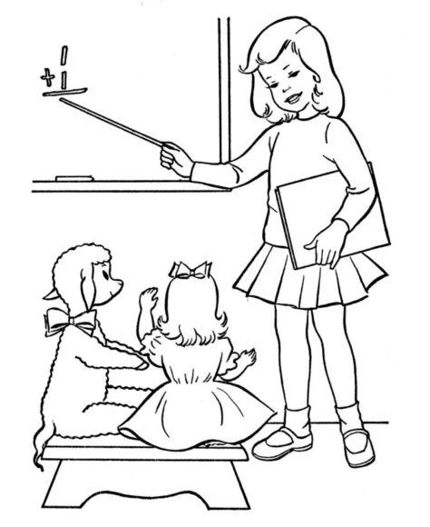 Hình vẽ đen trắng cô giáo và học sinh