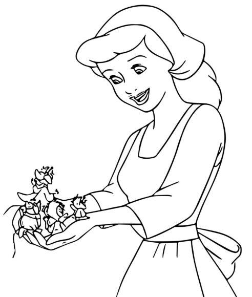 Hình vẽ đen trắng công chúa lọ lem