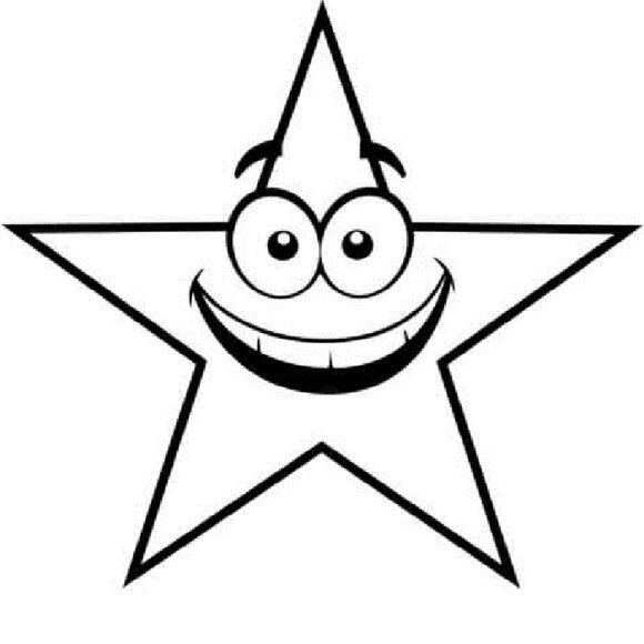 Hình vẽ đen trắng ngôi sao cho bé tô màu