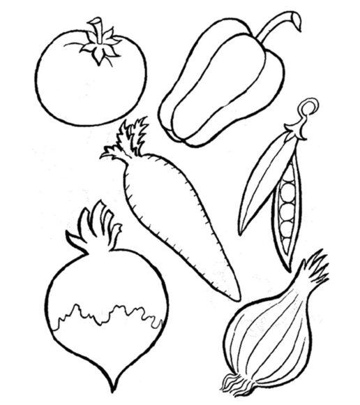 Hình vẽ rau củ quả cho bé tập tô
