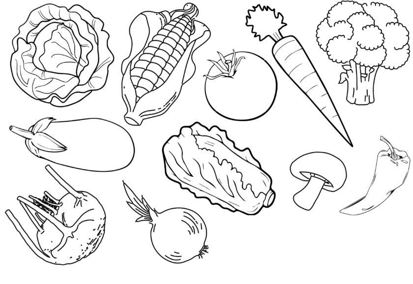 Hình vẽ rau củ quả đẹp cho bé tập tô