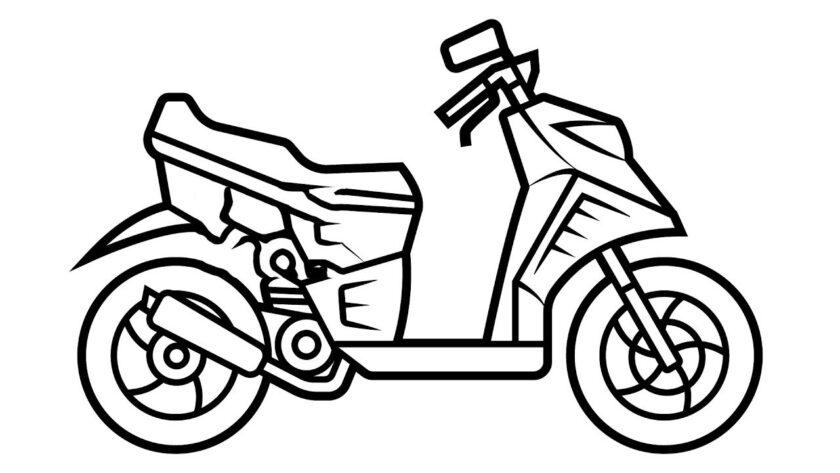 Hình vẽ tập tô xe máy cho bé tô màu