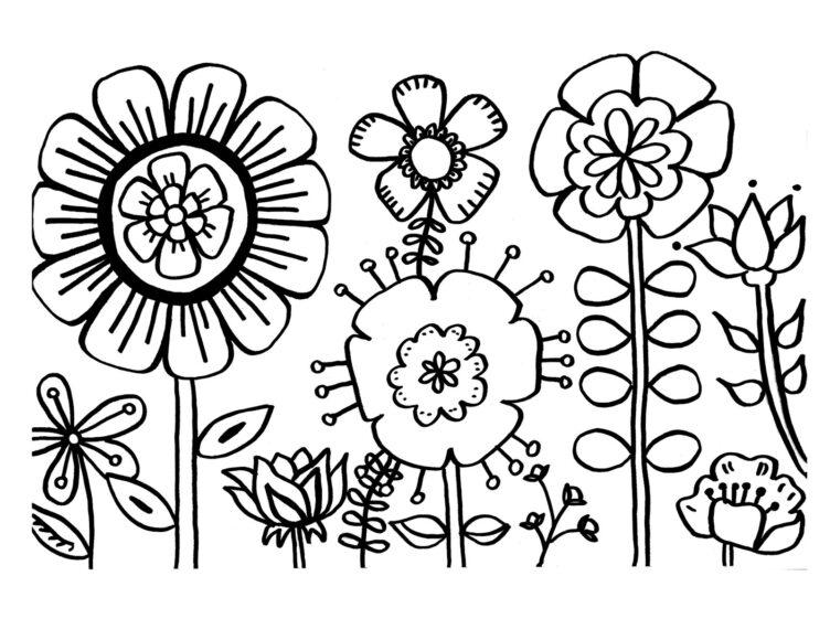 Hình vẽ vườn hoa đẹp cho bé tập tô