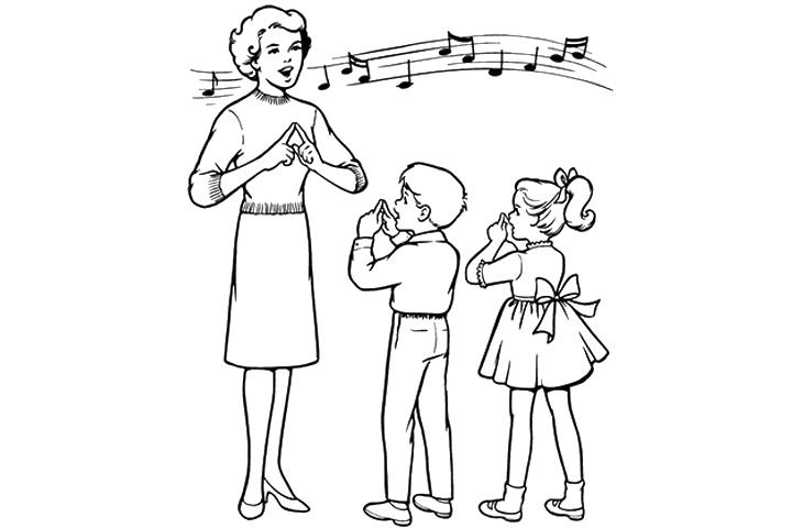 Mẫu hình cô giáo và học sinh cho bé tô màu