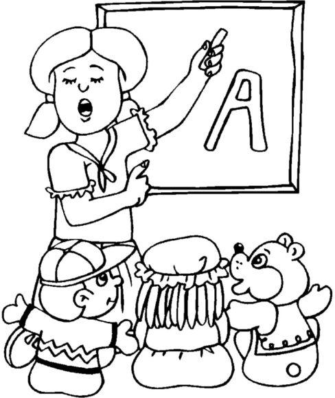Mẫu hình tập tô cô giáo và học sinh