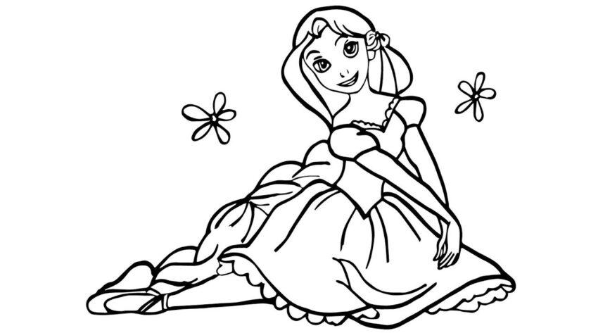 Mẫu tranh tô màu công chúa tóc mây cho bé tập tô