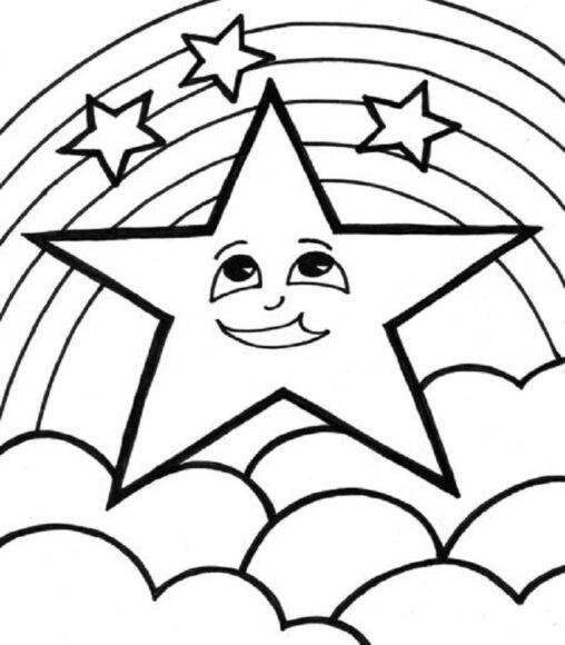 Mẫu tranh tô màu ngôi sao ngộ nghính