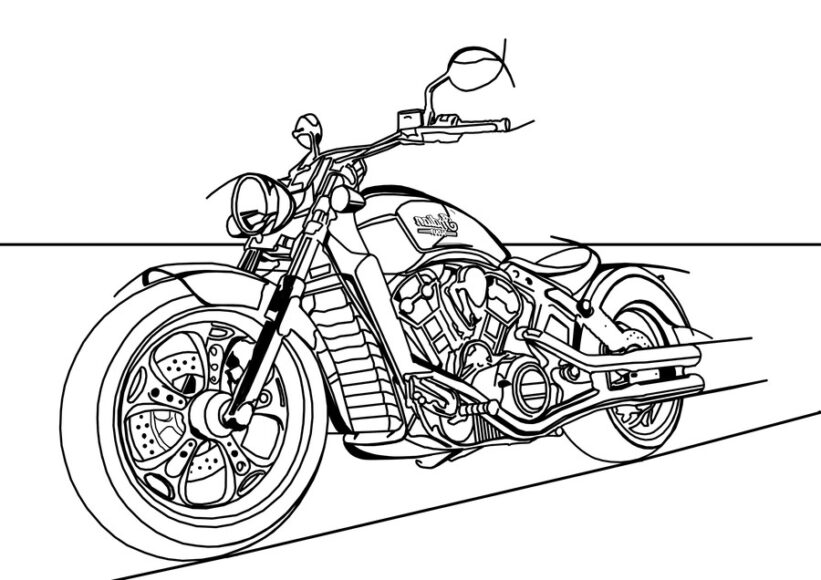 Mẫu vẽ xe máy ngầu nhất cho bé tô màu