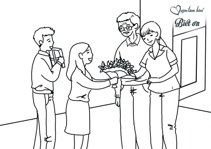 Tranh tô màu cho bé về chủ đề cô giáo và học sinh