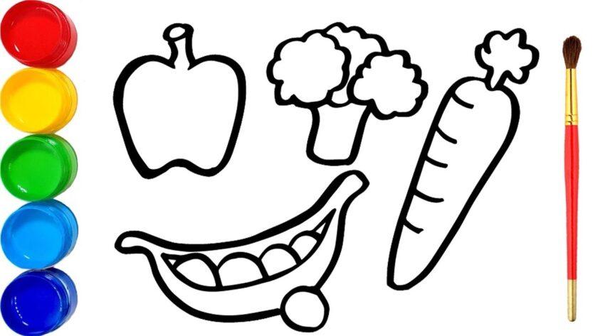 Tranh tô màu cho bé về chủ đề rau củ quả
