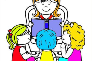 Tranh tô màu cô giáo và học sinh