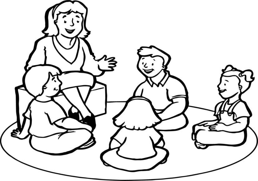 Tranh tô màu cô giáo và học sinh ngồi chuyện trò