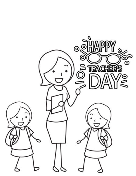 Tranh tô màu cô giáo và học sinh trong ngày nhà giáo Việt Nam