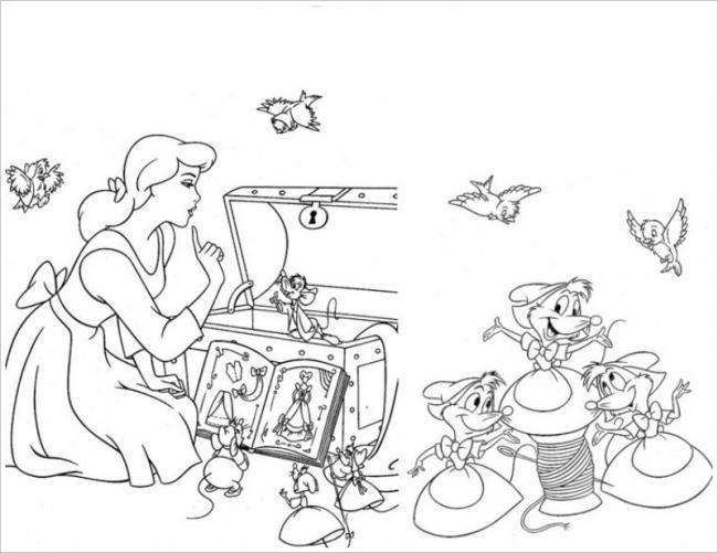 Tranh tô màu công chúa lọ lem cùng với các con chuột, chim