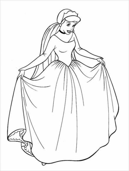 Tranh tô màu công chúa lọ lem dễ thương