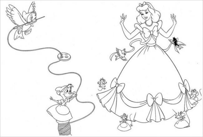 Tranh tô màu công chúa lọ lem mặc chiếc váy xinh đẹp