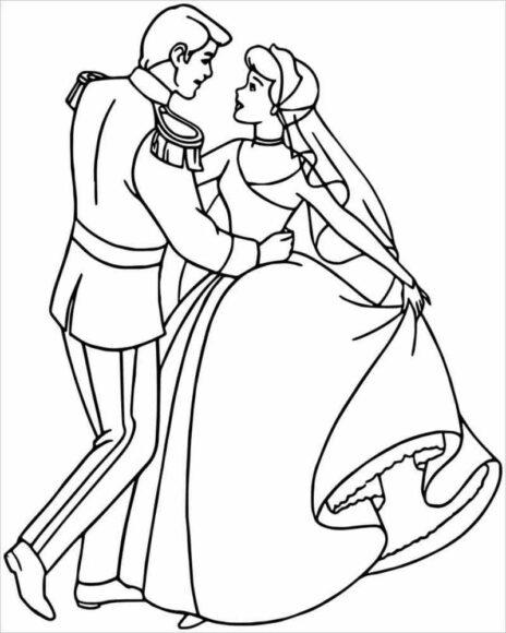 Tranh tô màu công chúa lọ lem nhảy cùng hoàng tử