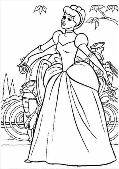 Tranh tô màu công chúa lọ lem và cỗ xe