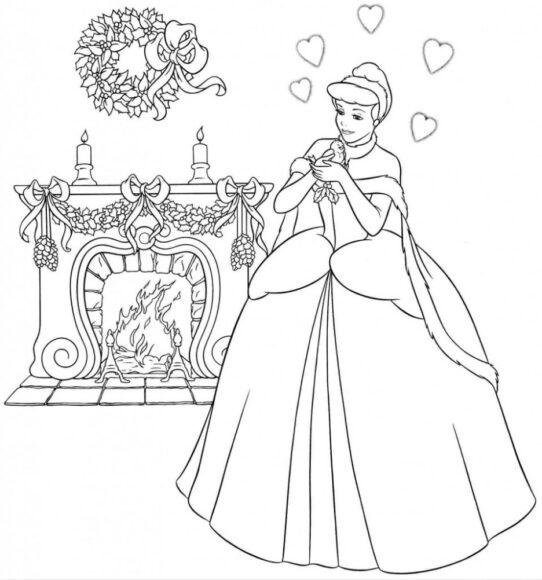 Tranh tô màu công chúa lọ lem và con chim