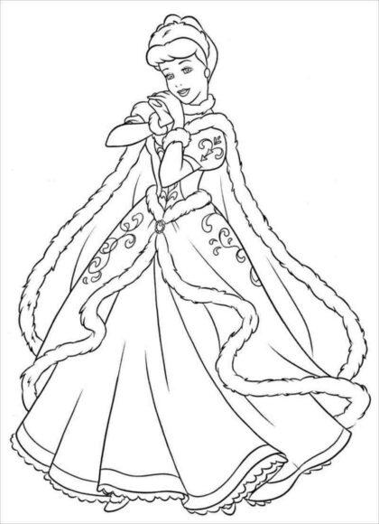 Tranh tô màu công chúa lọ lem xinh đẹp