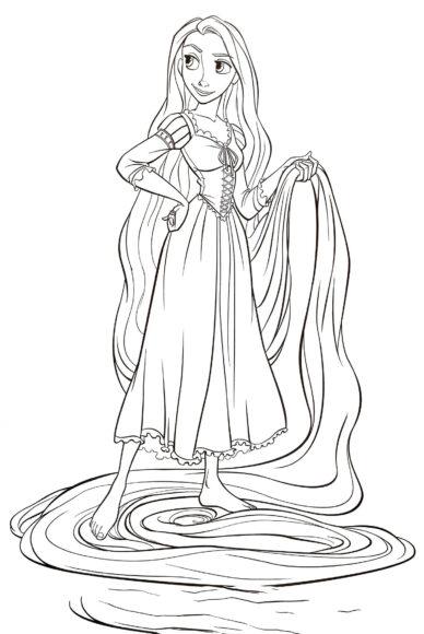 Tranh tô màu công chúa tóc mây cầm mái tóc dài của mình