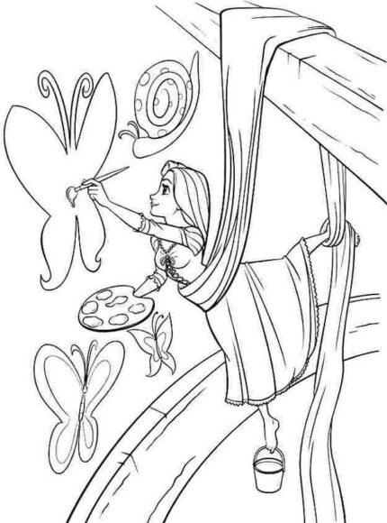 Tranh tô màu công chúa tóc mây đang vẽ những con bướm xinh