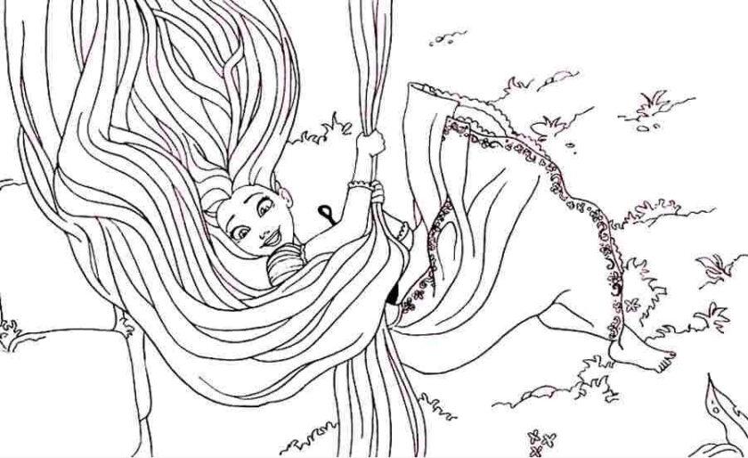 Tranh tô màu công chúa tóc mây dùng mái tóc của mình để đu thoát khỏi toà tháp