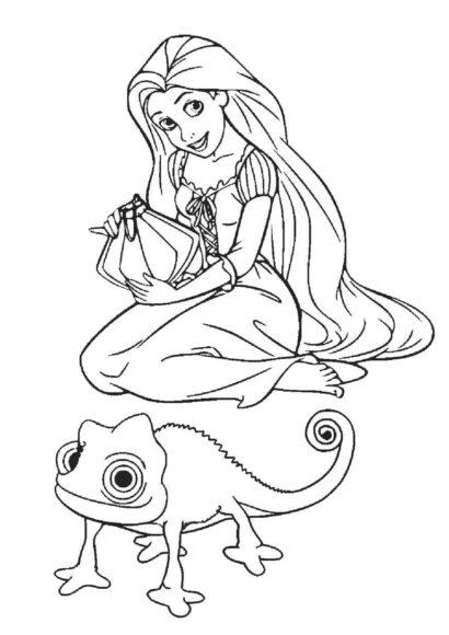 Tranh tô màu công chúa tóc mây và chiếc đèn lồng
