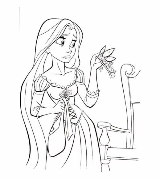 Tranh tô màu công chúa tóc mây và chiếc vương miện
