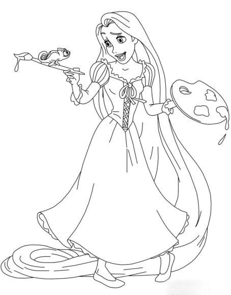 Tranh tô màu công chúa tóc mây và chú tắc kè