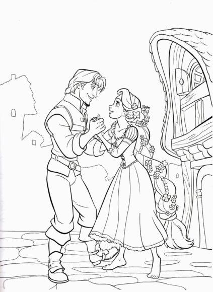 Tranh tô màu công chúa tóc mây vui mừng khi gặp hoàng tử