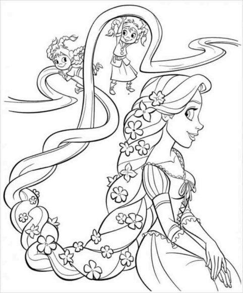 Tranh tô màu công chúa tóc mây xinh đẹp nhất